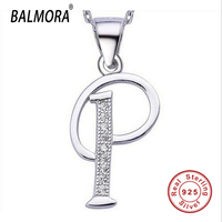 Christmas Gift Letter P 100 Real Pure 925 Sterling Silver Pendants For Women Men Fashion Silver