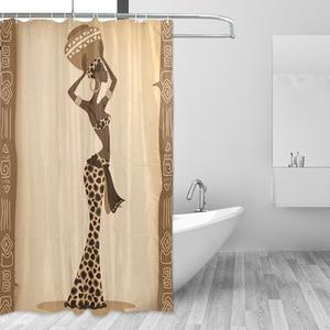 Image 4 - Ekologiczne afrykańskie kobiety zasłony prysznicowe wodoodporna kurtyna kąpielowa z tkaniny poliestrowej do łazienki z 12 hakami Home Decor