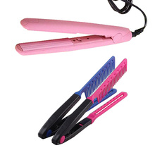 Mini 17.5 * 2 * 2.5cm New Ceramic Electronic With Comb Hair Straighteners Curling Irons Beauty Hair Tool