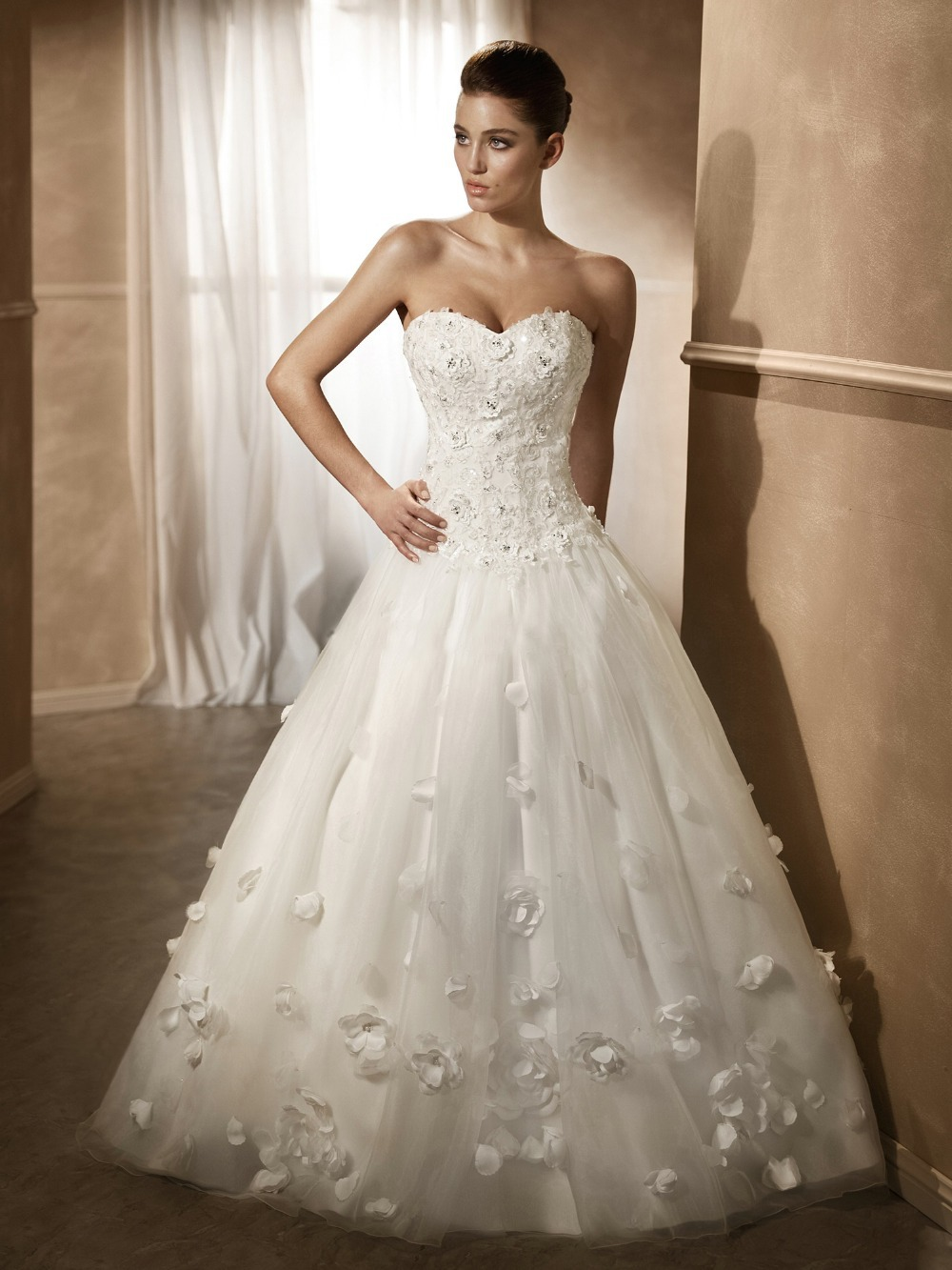 Strapless Long Tail Lace Flowers Ball Gown Buy Wedding Gowns Online ...