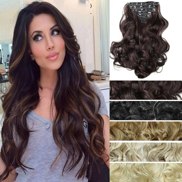 20inch 7pcsset Curly Wavy Hair Weave Natural Synthetic Hair