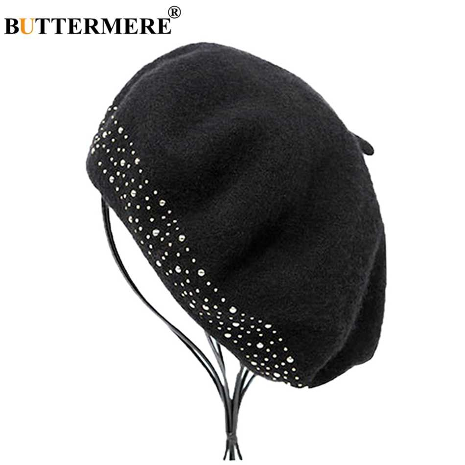 BUTTERMERE Wool Beret Cap Women Black Rivet Artistic Hats Ladies French Beanies Elegant Soft Female Autumn Winter Painters Caps