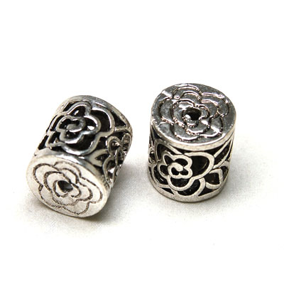 Antique silver casting Filigree hollow rose tube Bead 17*17mm