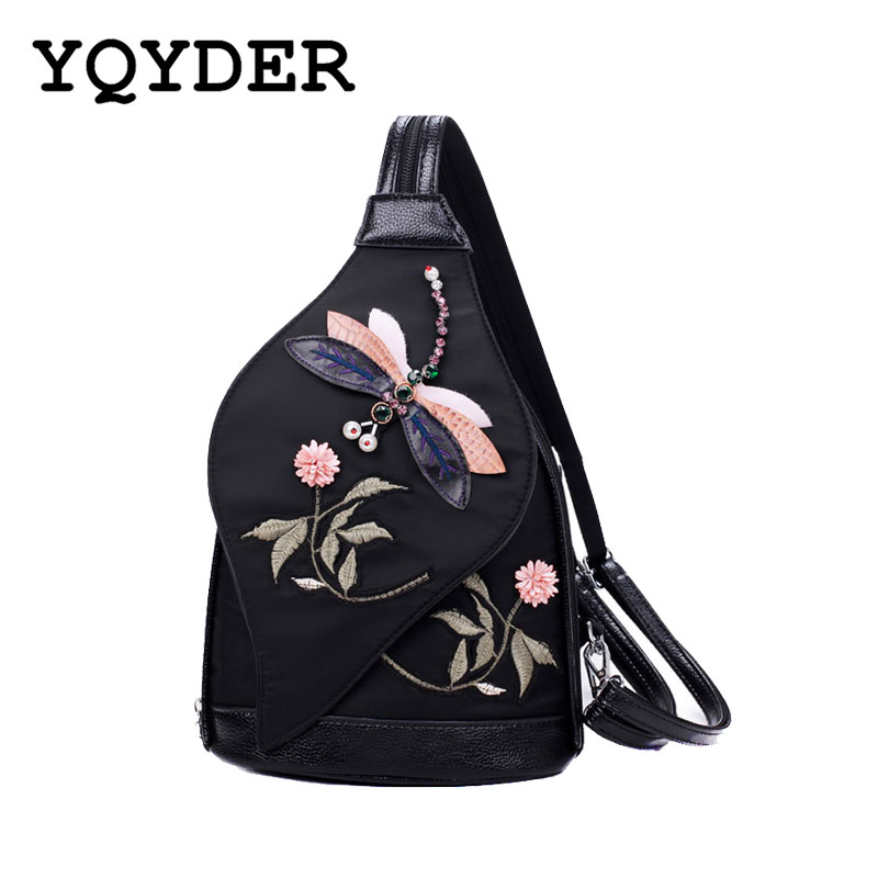 Multifunctional Nylon Women Backpack Flowers Embroidery Shoulder Bag 3d Dragonfly Vintage School Bag For Teenage Girl Chest Pack