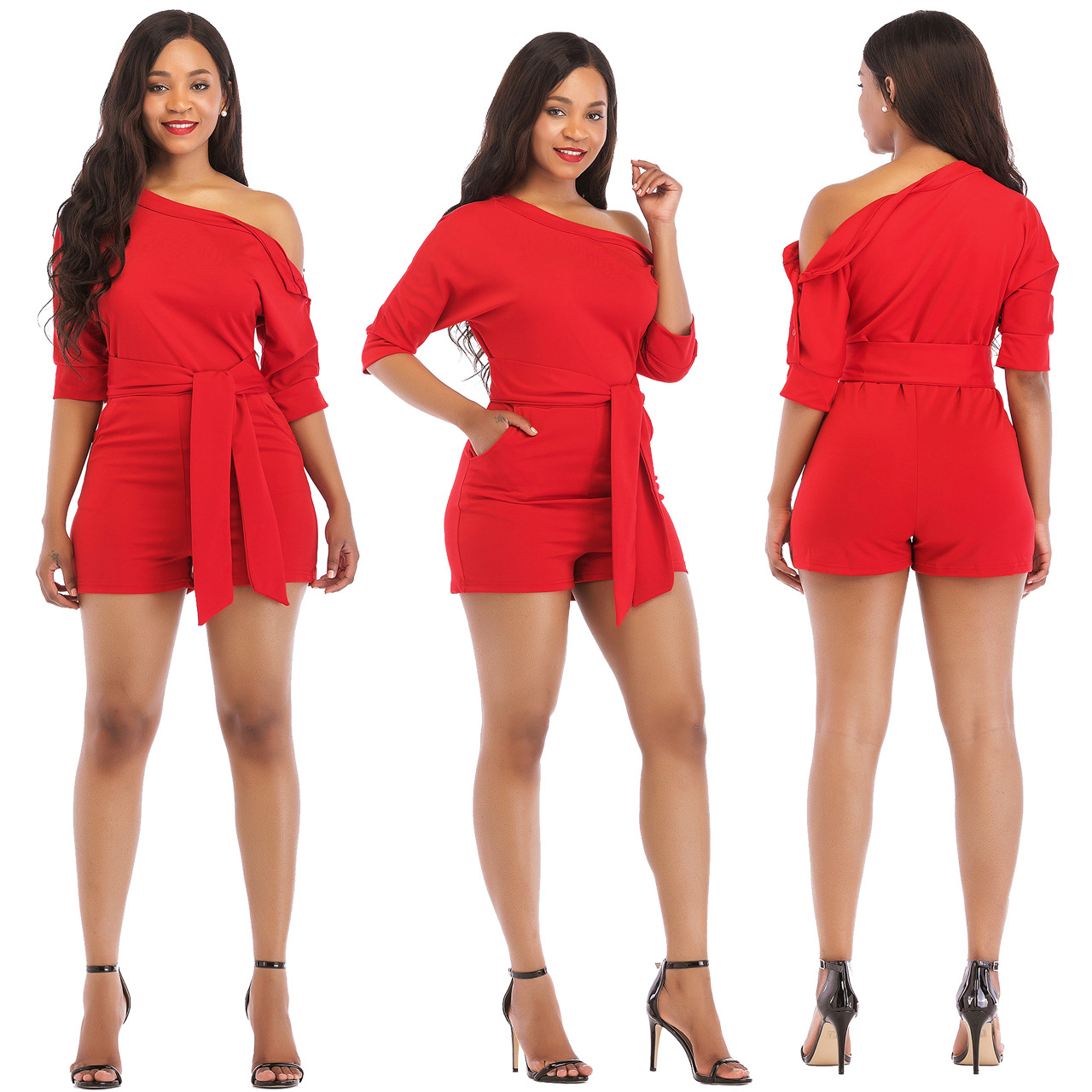 Jumpsuit Playsuit One Shoulder Shorts Irregular With Waistbelt Casual Fashion Half Sleeves Red Black Blue Yellow White Plus Size