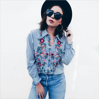 2017 Europe And The United States Spring Ruffled Collar Floral Embroidered Blouse Shirt Long Sleeved Female