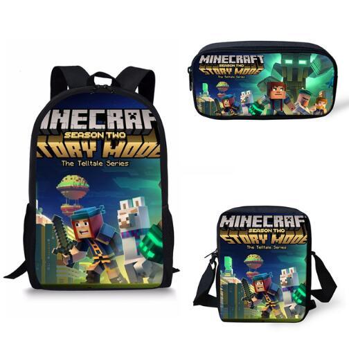 16 Inch Games Minecraft Herobri School Bag For Teenager Boys Girls Kids Personized Backpack 3pcs Sets Children Backpack