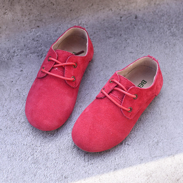 Cowhide Children Sneakers suede leather Boys and Girls lace-up Oxford Shoes Kids casual shoes 2