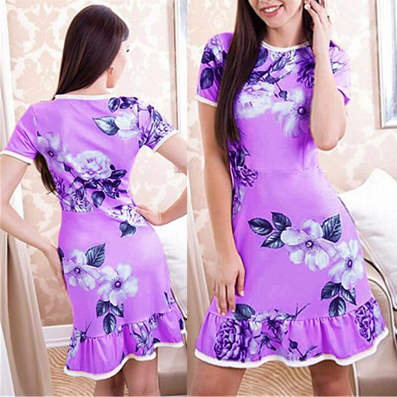 Cocktail   Floral   Dress   Ladies Womens Plus Size Round Neck Casual Slim Ruffles