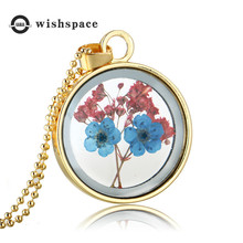 Fragrance dried flowers glass pendant simple circular embossed on mothers day fashion necklace jewelry