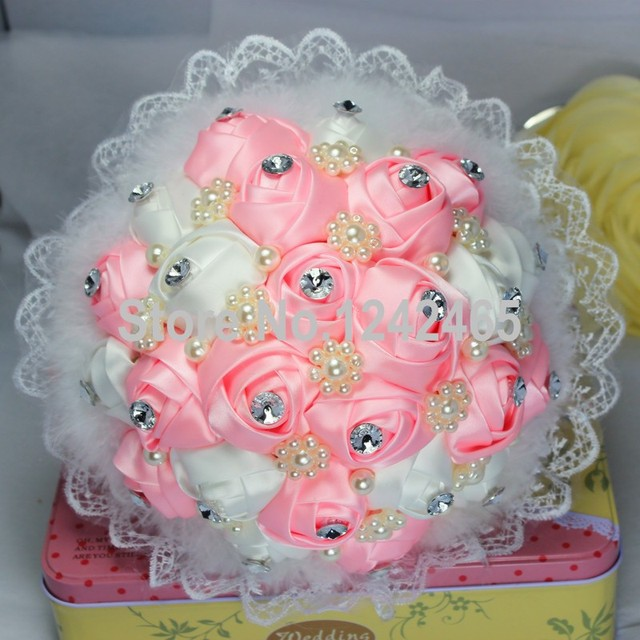 2015 Hot Sale High Quality Bridal Holding Flowers Pink Ribbon Roses Mixed Color Pearl Embellishment Wedding Bouquet SH05