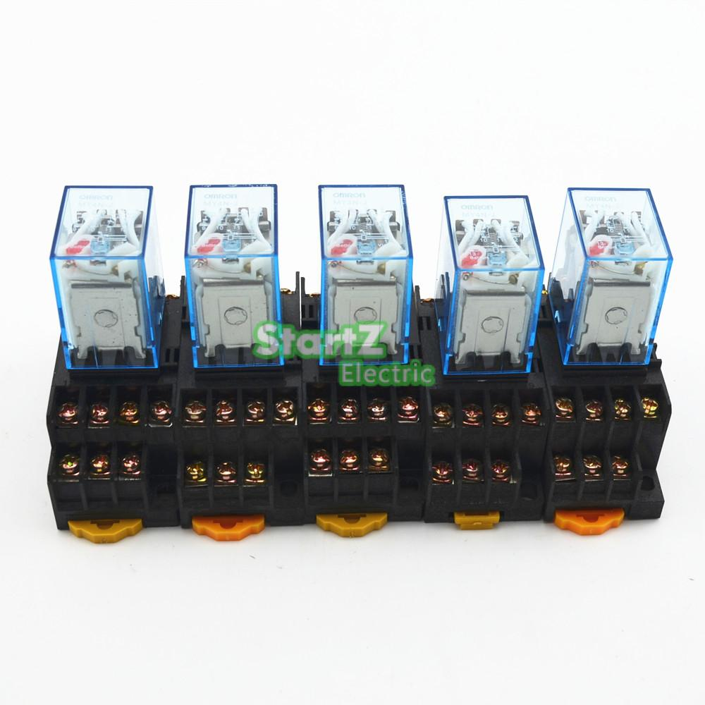 Hh52p 10pc My2nj Relay 220v 12v 24v 48v Ac Dc Coil General Purpose Spdt Micro Mini 5vdc 5pcs My4nj 220 240v Small 5a 14pin Dpdt With Socket Base
