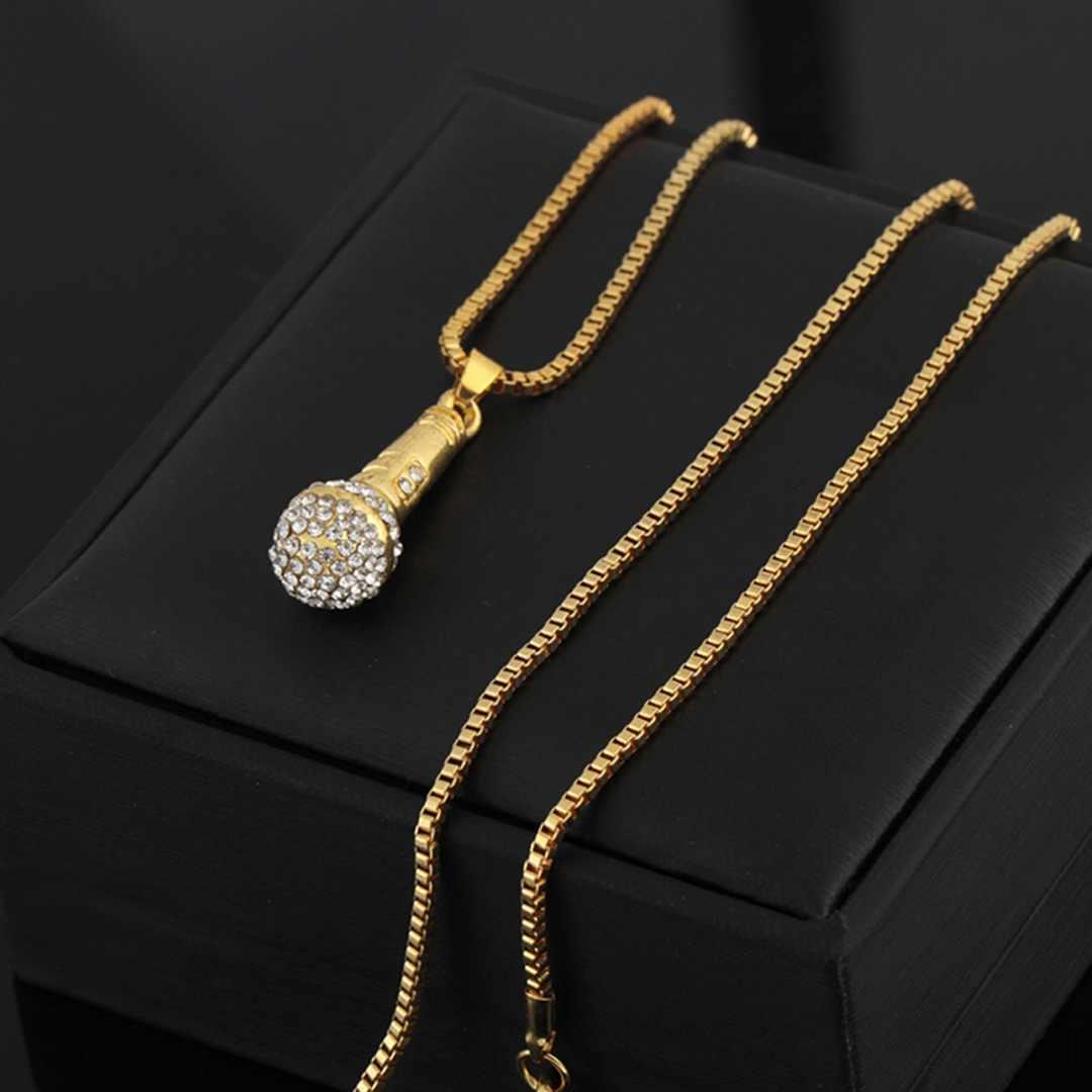 Kryształowy łańcuszek naszyjnik raper mikrofon wisiorek mężczyźni kobiety kryształki w kolorze złota naszyjnik Shellhard Hip Hop biżuteria akcesoria