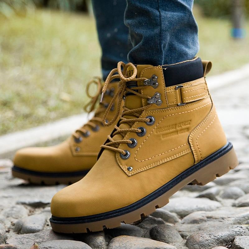 Moda Sonbahar Erkekler Ayak Bileği Çizmeler Açık Ayakkabı Deri İş Boots Bota Masculina Rahat Martin Çizmeler Retro Ayakkabı Mens Için NSX58