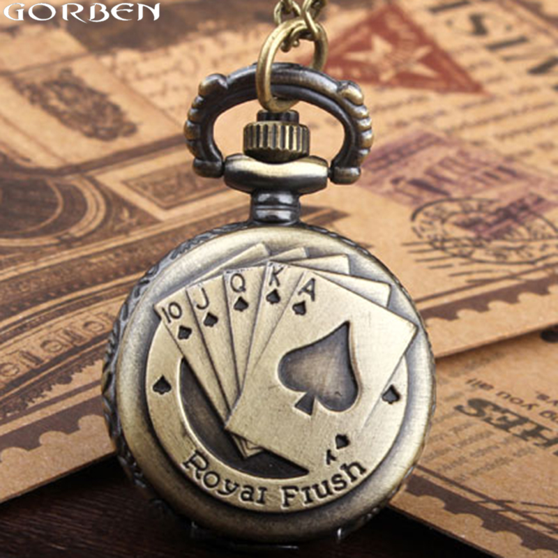 Small size new fashion vintage antique style holdem Royal Flush poker pocket watch unisex mini quartz pocket watch with chain old antique bronze doctor who theme quartz pendant pocket watch with chain necklace free shipping