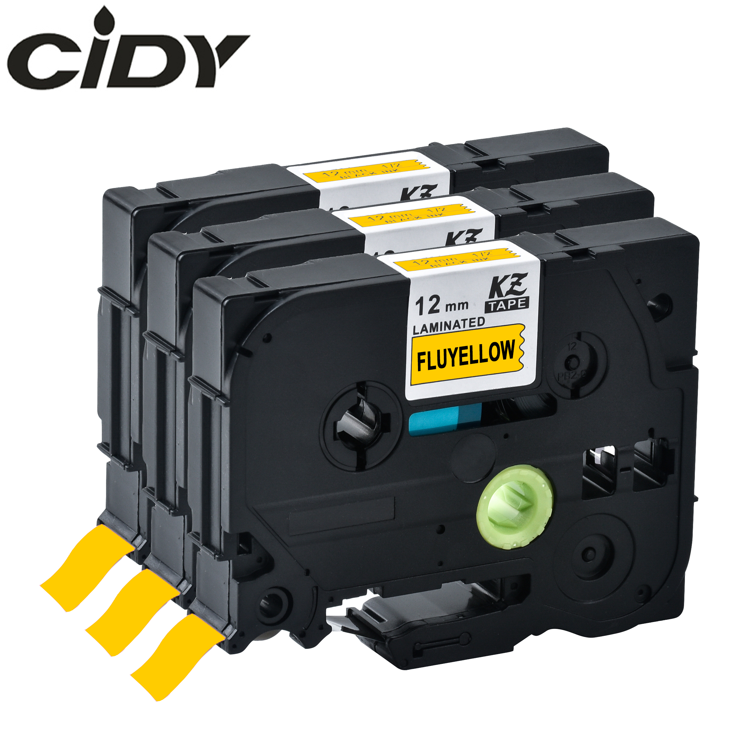 cidy Black on Fluorescent Yellow Laminated Label Tape Compatible TZE C31 TZ C31 TZE C31 TZ C31 For Brother Printers|brother tze|tze brother|brother tz - title=
