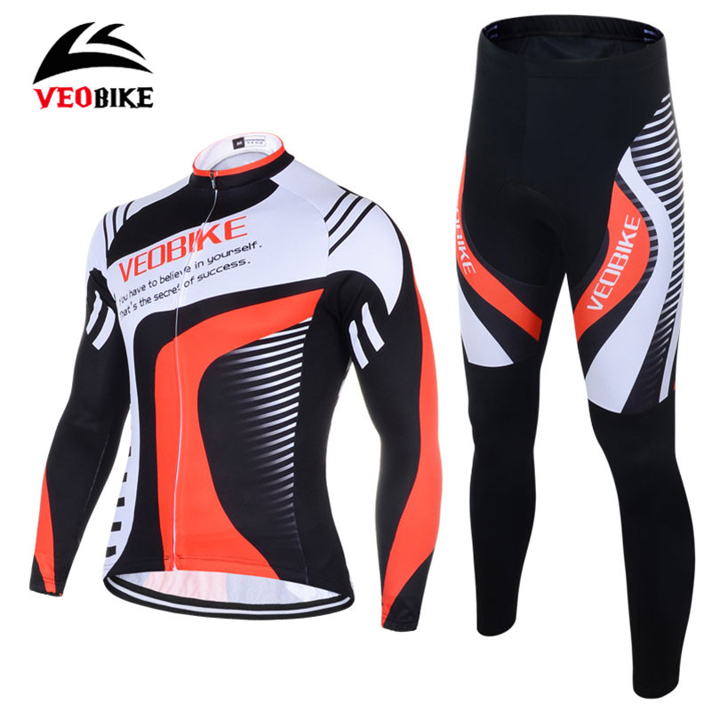 VEOBIKE Men's Bicycle Clothing Long Sleeve Jersey Gel Pad Pants Clothes Ropa Ciclismo MTB Road Running Bike Cycling Jersey Set