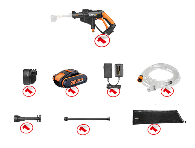 Items comes with WORX 20V lithium battery high pressure cleaner