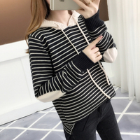 pullover, black and white striped cap, bottom knitted sweater, patched Korean version sweater for spring wear, 2019