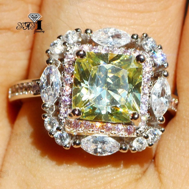 YaYI Jewelry Princess Cut 6.3 CT Green Zircon Silver Color Engagement Rings wedd