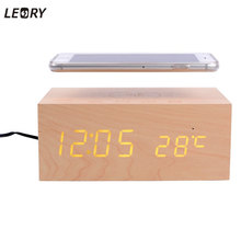 LEORY Wireless Bluetooth Speaker Built-in Qi Wireless NFC Alarm Clock Time Display Mic Subwoofer AUX/USB Stereo Sound Box Wood