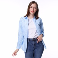 Dioufond Women White Blouse Shirt Cotton Long Sleeve Casual Shirt With Pockets Solid Blusas Femininas Spring