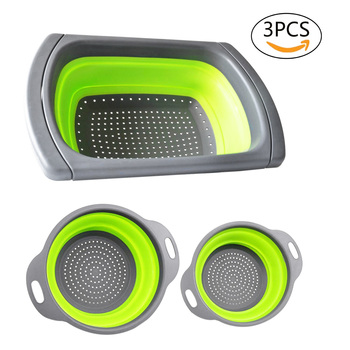 Foldable Colander Strainer Set Foldable Strainer over the sink Vegetable / Fruit Kitchen Strainer Tea Strainer with pull-out h фото