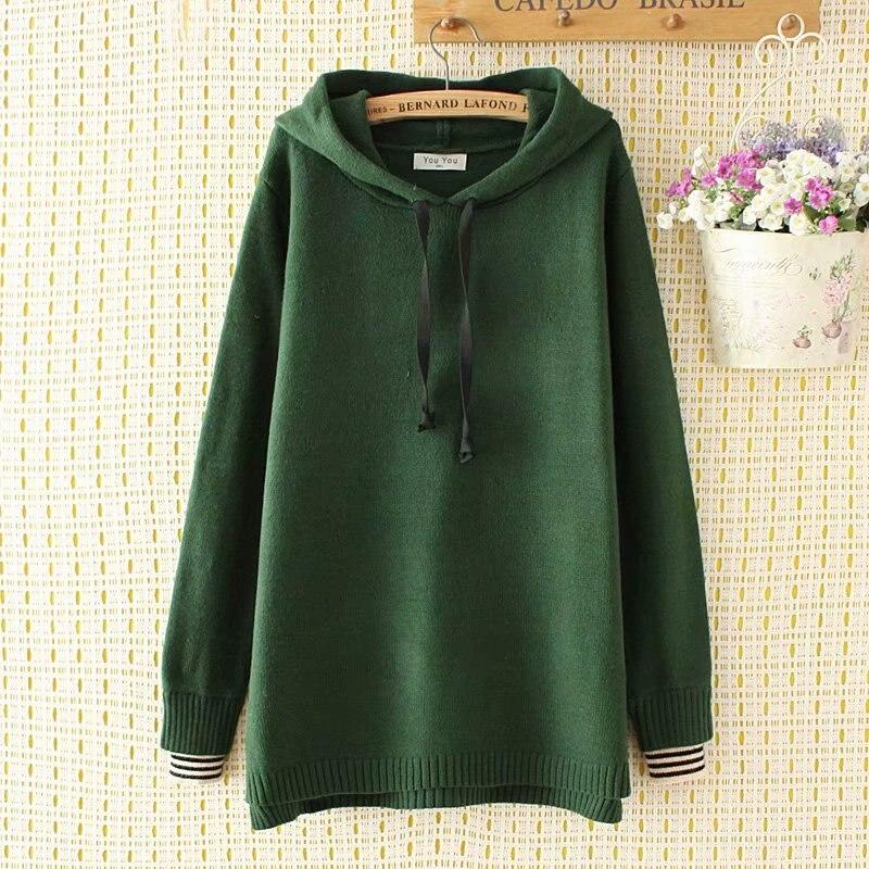 Plus size Knitted pullovers women Sweatshirts loose hoodies 2018 New casual ladies wool cotton oversize Sweatshirts
