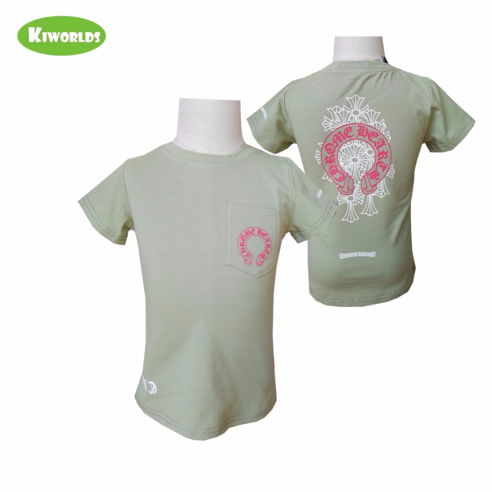 T-Shirt Short-Sleeve Girl Baby Child's Cotton Summer Green Letter Cool Boy And Pocket