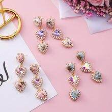 MENGJIQIAO – boucles d'oreilles en forme de coquille colorée pour femmes, en cristal, amour, cœur, longues, strass, nouvelle collection 2018