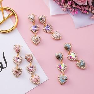 MENGJIQIAO 2018 New Colorful Shell Love Heart Crystal Long Pendientes Mujer Moda Statement Rhinestone Drop Earrings For Women