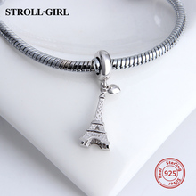 100% 925 Sterling Silver Eiffel Tower Charms Beads Fit Authentic Pandora pendant Bracelets&necklace diy Jewelry making gift stylish eiffel tower pendant necklace for women