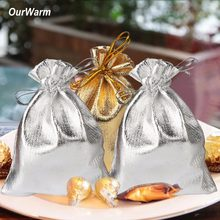 OurWarm 50Pcs Wedding Party Favors Candy Gifts Pouches Gold Sliver Present Bags Wedding Gifts for Guests Souvenirs Decorations(China)