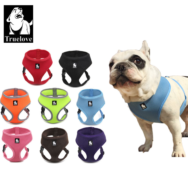 Truelove Puppy Cat Pet Dog Harness Breathable Mesh Nylon Hund Harness Strap Soft Walk Vest Krage För Small Medium Size Dog Pets