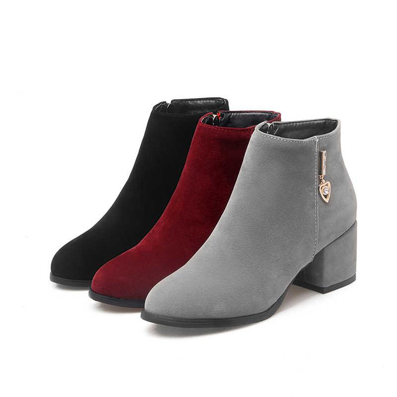 KARINLUNA 2018 PLUS ขนาด 32-45 Zip Up เชลซีบู๊ทส์แบบสบายๆส้นเพิ่มข้อเท้ารองเท้าบูทรองเท้าผู้หญิงรองเท้าผู้หญิงฤดูหนาว