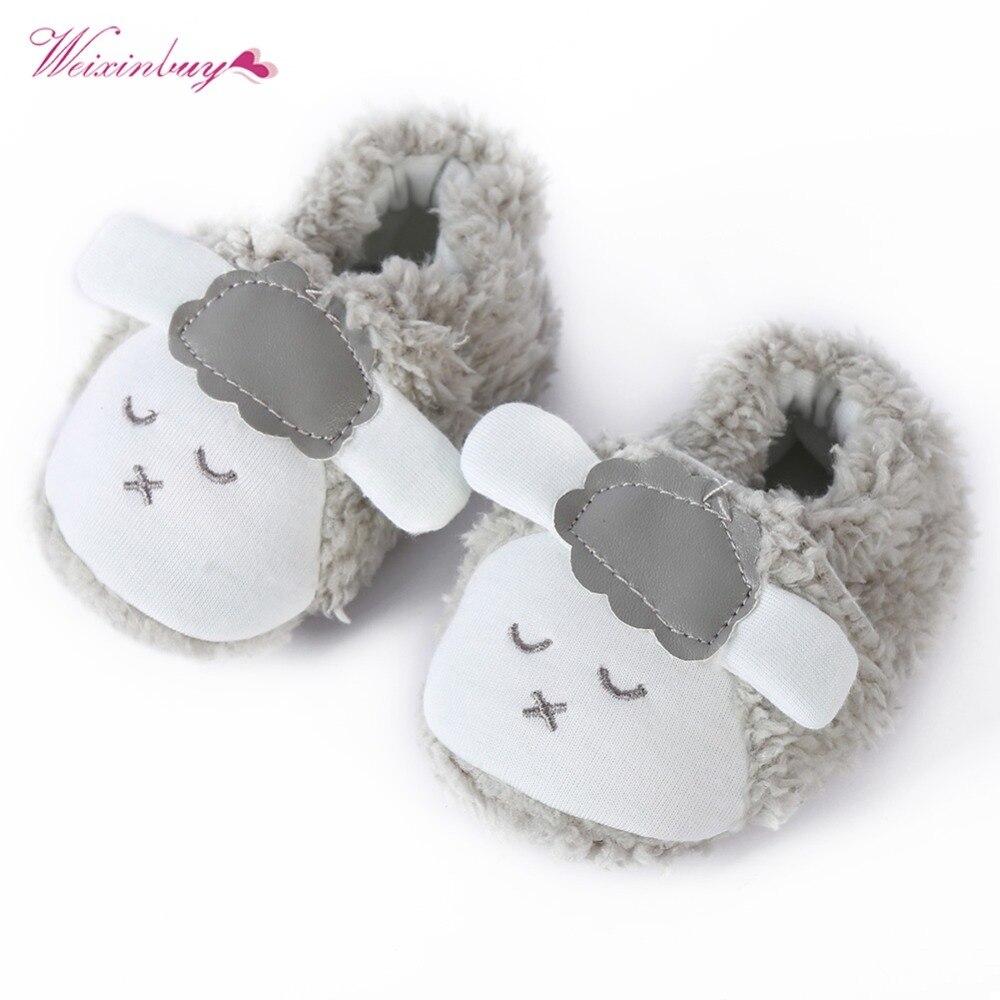 WEIXINBUY Super Cute Baby Girls Shoes Kids Children Winter Warm Plush Booties Infant Soft Slipper Crib First Walkers