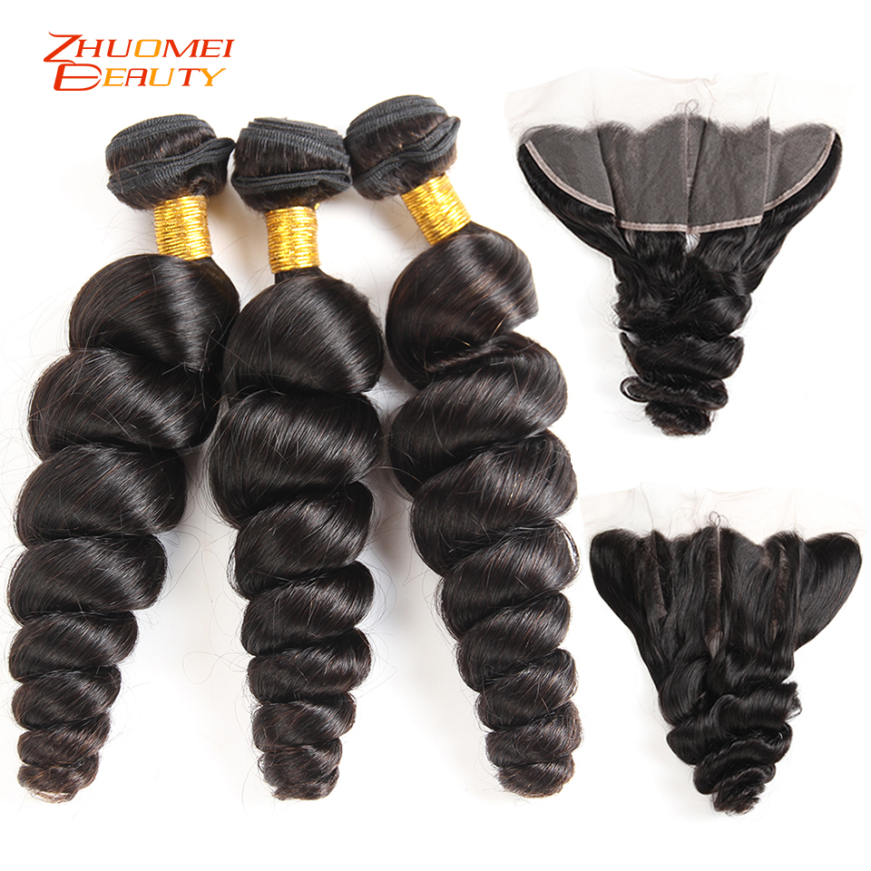 Malaysian Loose Wave Bundles With Closure Remy Human Hair Weave 3 Bundles With Frontal 13 4Lace