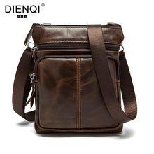 DIENQI Genuine Leather Bag Men 100% Real Leather Mini Size Travel Bolsa Masculina Men's Crossbody Bag Vintage Small Flap Casual