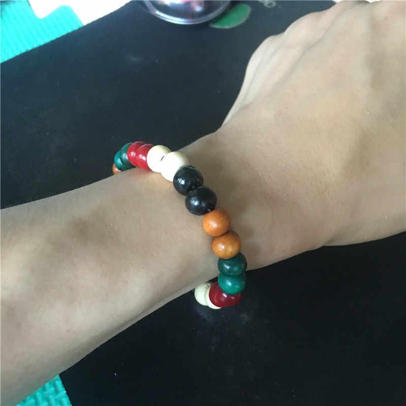 Moda de nova Mens Natural 8mm De Contas De Madeira Raiz Chakra Jewery & Hip Hop Beads Pulseiras Palavra Buda Jóias Para Homens Presentes Mulheres