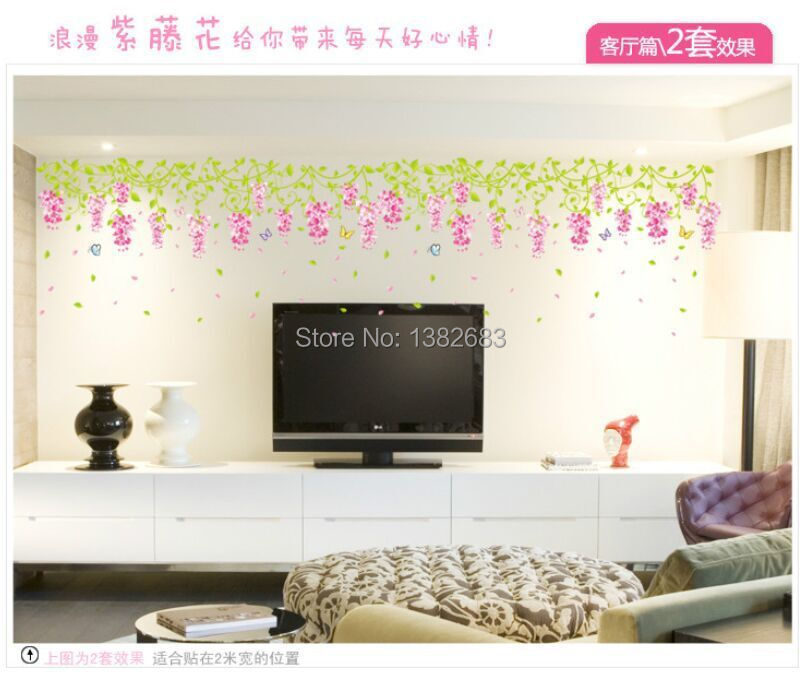 Us 4 95 Tv Background Wall Sticker Romantic Wisteria Flower Decoration Wall Stickers Paper Flowers Living Room Bedroom Decoration Am7014 In Wall