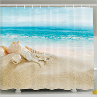 1pcs High Quality Ocean Decor Collection Starfish Seascape Sea Beach Picture Print Bathroom Set Fabric