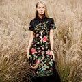 High end Плюс размер 2017 женщины весна лето Китайский стиль Старинные цветок птица вышивка длинные случайные сексуальные cheongsam dress 8854