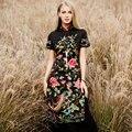 High end plus size 2017 mulheres primavera verão da flor do pássaro do estilo chinês do vintage bordado ocasional longo cheongsam sexy dress 8854