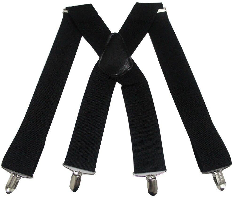 Winfox Vintage  4 Clip Elastic Male Suspenders Black White 5cm Wide Men's Suspenders Braces