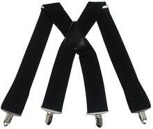Winfox Vintage  4 Clip Elastic Male Suspenders Black White 5cm Wide Mens Braces