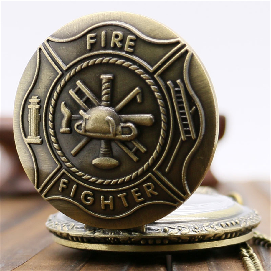 YISUYA Bronze Fire Fighter Control Quartz Pocket Watch Necklace Pendant Steampunk Mens Gift
