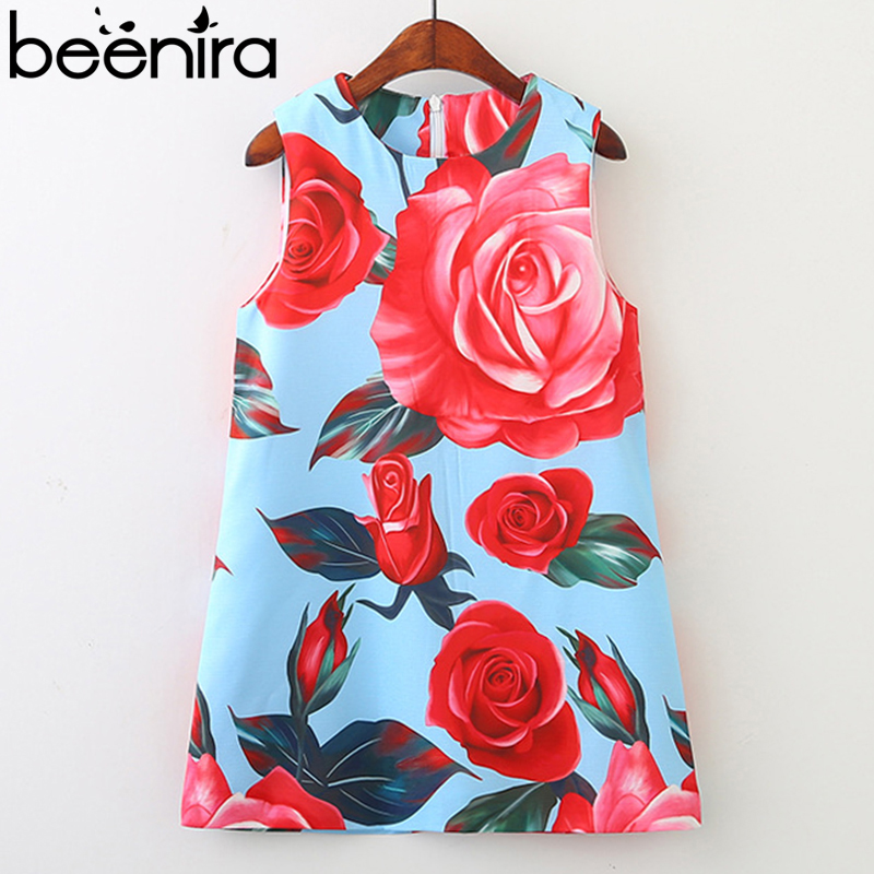 Beenira Girl Dress 2018 New European And American Style bambini senza maniche Pattern stampato abiti da festa 3-8Y Kids Girls Dress