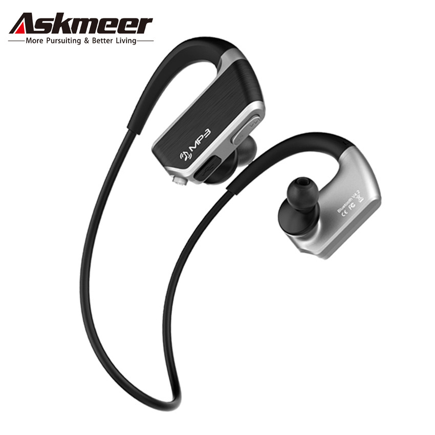 Askmeer 8GB Mp3 Music Player Headsets+Wireless Bluetooth Sport Earphone Sweatproof Earbuds Headset with Microphone Handsfree bluetooth headphone wireless sport stereo tf card fm radio mp3 player headset handsfree with microphone wired earphone headphons