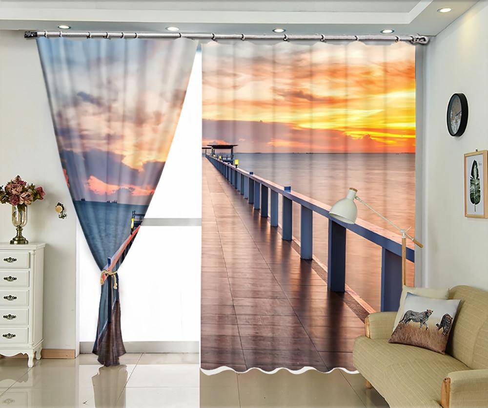 Evening coast views personalized custom curtains sun shade