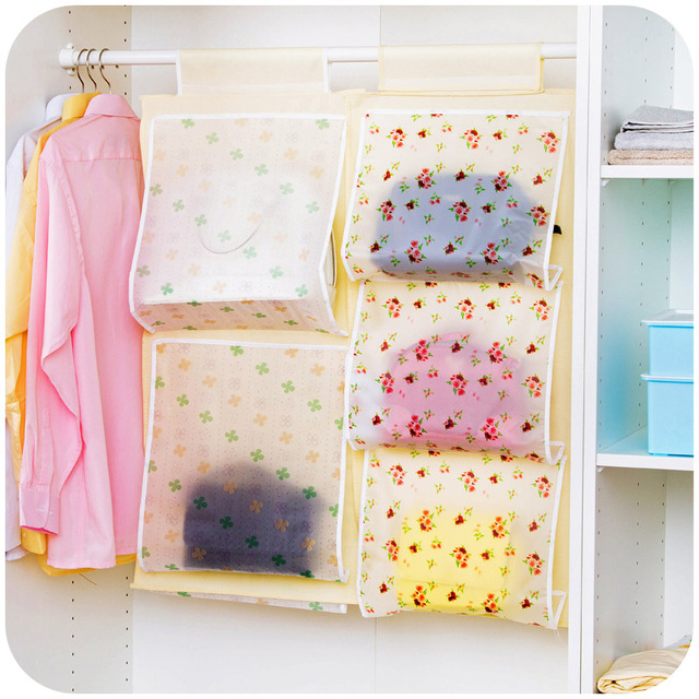 5 Pockets Hanging Storage Bag Organizer Closet Purse Handbag Tote Bags  Storage Rack Hangers Anti Dust